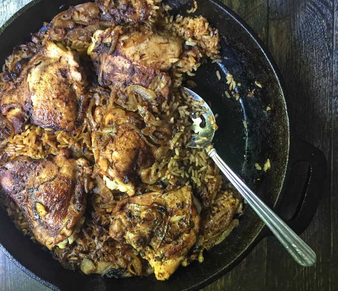 This Middle Eastern chicken skillet dinner is an easy dinner with a deliciously unique taste. Spice it up tonight.