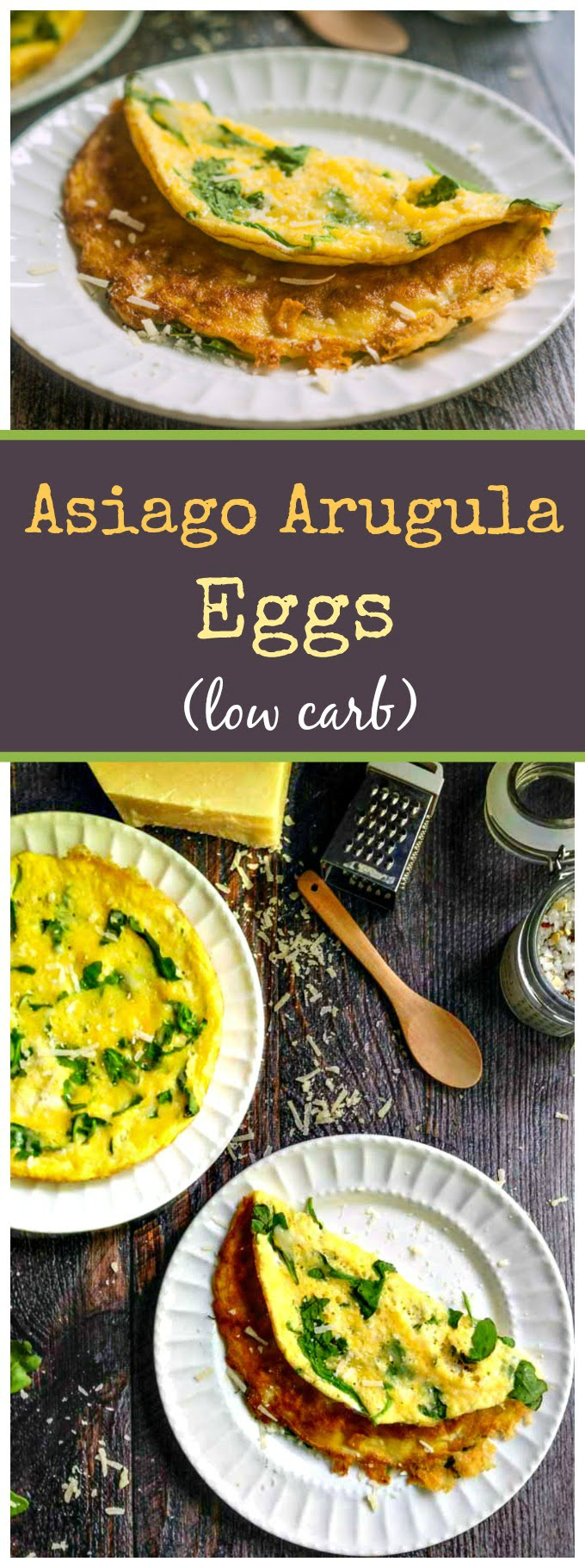These asiago arugula eggs make for a delicious, low carb breakfast, lunch or dinner. Best of all they only take minutes to make!