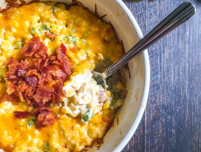 This jalapeño corn dip with bacon is an easy and tasty dish to serve at your next party. Sweet creamy, cheesy corn and spicy jalapeños with the salty goodness of bacon.