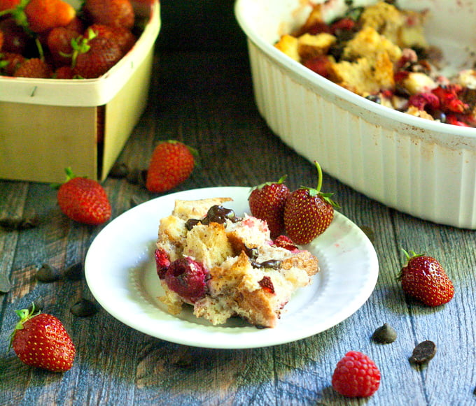 This chocolate berry bread pudding has the delicious combination of berries and chocolate wrapped up in the goodness of bread pudding.