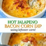 white bowl filled with hot jalapeno corn dip with bacon and blue cloth and text overlay