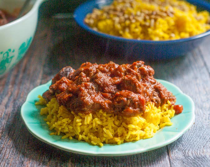 This eggplant beef stew is an easy Middle Eastern dish that you can make in an Instant Pot, slow cooker or on the stove. Tangy, sweet tomatoes with silky eggplant and cinnamon spiced meat make for a delicious dish any night of the week. #SundaySupper