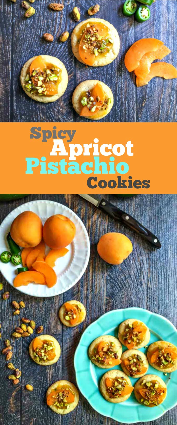 These spicy apricot pistachio cookies are easy to make and delightfully unique in flavor. These cookies have sweet apricots, spicy chiles and crunchy pistachios for a great taste.