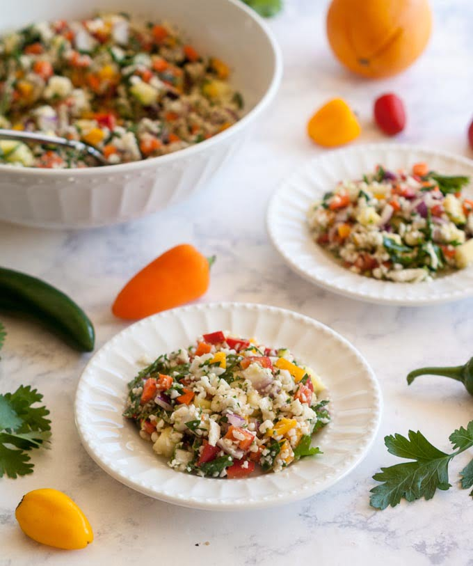 This Mexican tabouli salad is a refreshing spin on traditional. Using fresh herbs, vegetables and citrus flavors to make a tasty gluten free side dish.