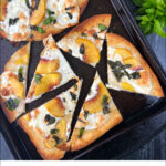 peach & basil naan bread pizza with fresh basil and fresh peaches and text