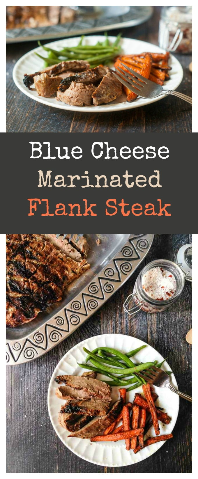 This blue cheese marinated flank steak is so tasty and easy. Perfect for a summer meal on the grill.