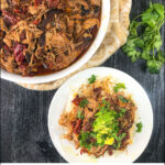 white bowl and plate with chipotle pork and text