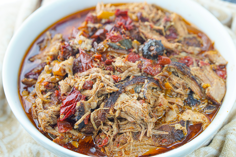 white bowl shredded pork with chipotle peppers