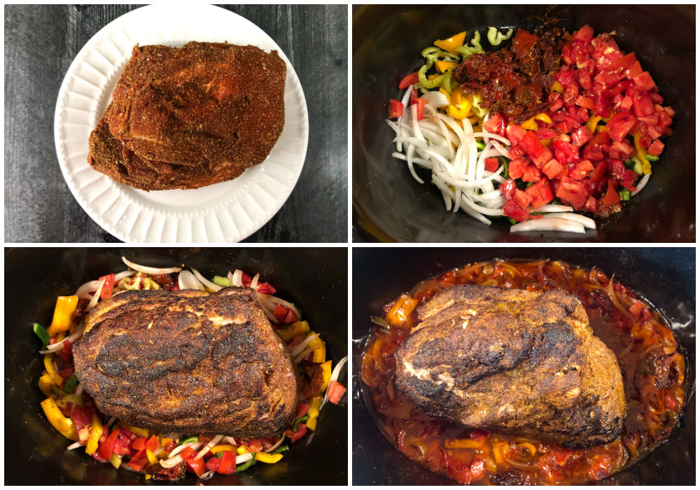 collage of pictures with how to cook chipotle pork in the slow cooker