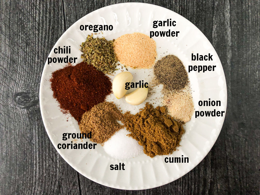 white plate with spices and text