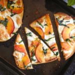 This easy peach & basil flatbread is perfect for those ripe peaches in season as well as herbs from the garden. A quick and tasty summer meal.
