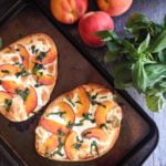 This easy peach & basil flatbread is perfect for those ripe peaches in season as well as herbs from the garden. A quick and tasty summer meal. #SundaySupper