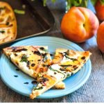 peach & basil flatbread pizza with balsamic reduction with text overlay