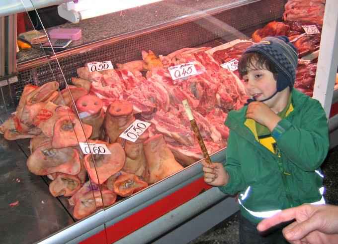 Max in Latvia at the market.