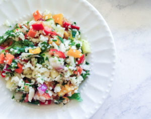 This Mexican tabouli salad is a refreshing spin on the traditional tabouli. Using fresh herbs, vegetables and citrus flavors to make a tasty gluten free side dish.
