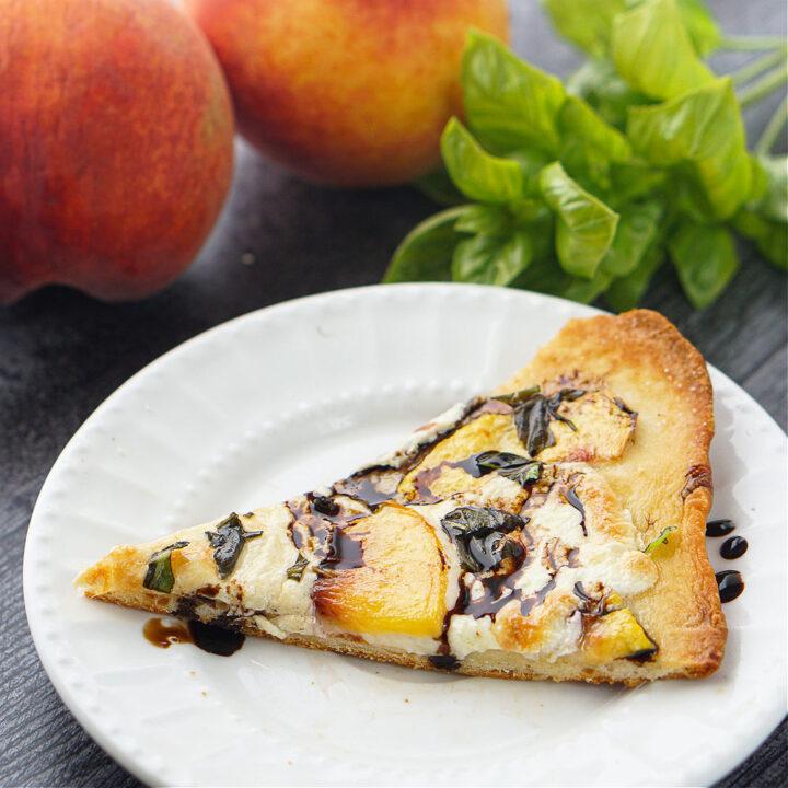 Easy Peach & Basil Naan Bread Pizza