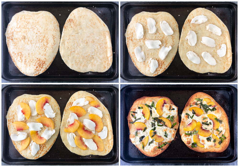 collage of pictures with a black cookie sheet with naan bread showing how to make the pizza