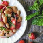This strawberry mint bean salad is an easy dish to whip up . It's fresh and tasty and looks great on the table!