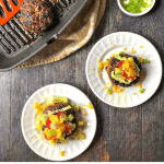 white plates with keto taco. burgers with text
