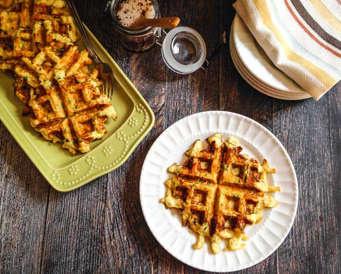 These Paleo zucchini & carrot waffles are quick to make and taste great. Low carb and gluten free, each waffle has 4.5g net carbs & 5 WW smart points.