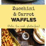 These Paleo zucchini & carrot waffles are quick to make and taste great. A savory, low carb, gluten free waffle.