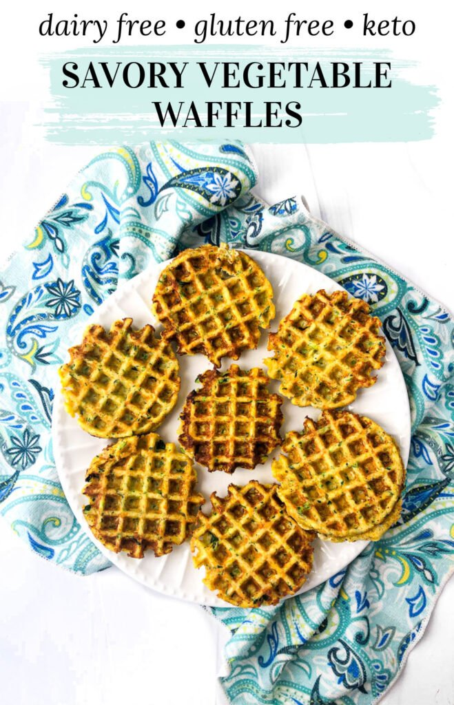 aerial view of large and small white plates with low carb veggie waffles with text