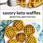 white dishes with a keto veggie waffles and a fork and text overlay
