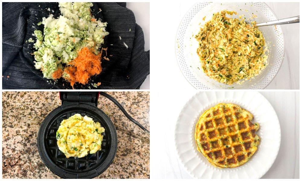 collage of steps to make keto veggie waffles