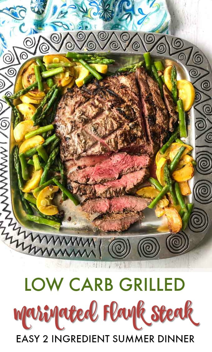 Silver platter with marinated grilled flank steak and vegetables with text overlay