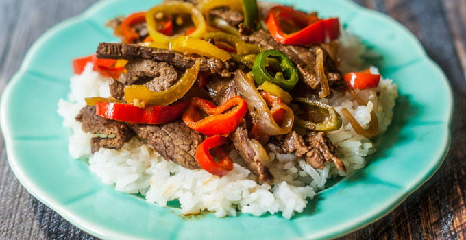 Hot Pepper Steak Over Rice (25 minute meal)