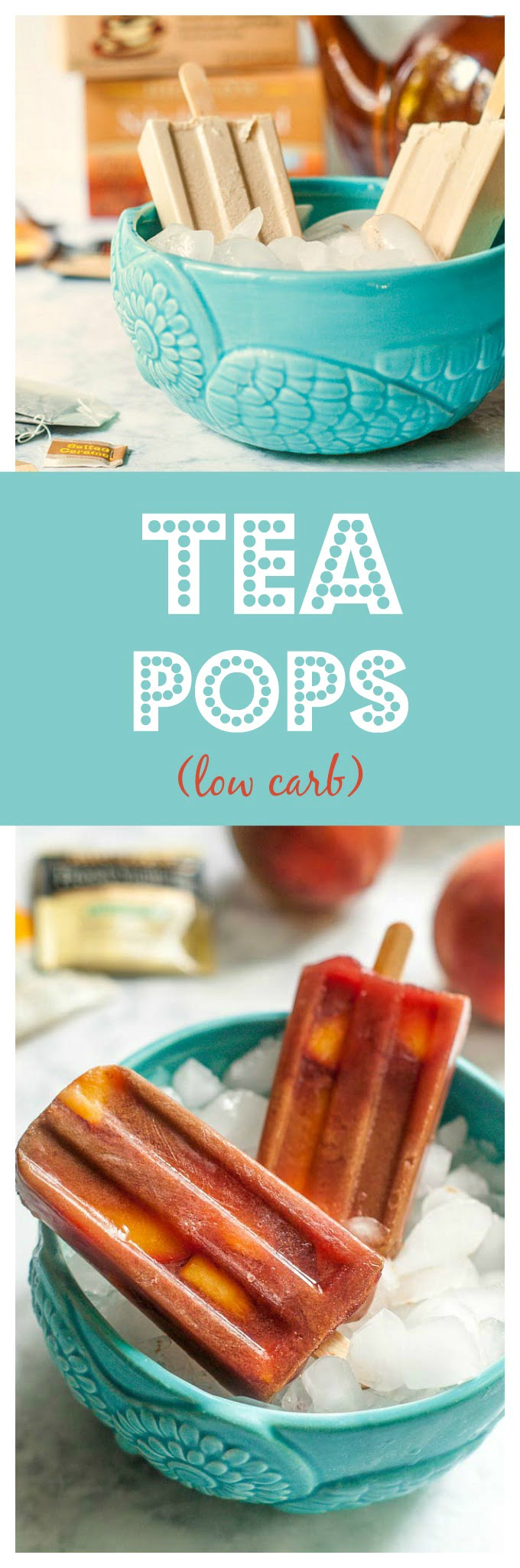 These low carb tea pops are a healthy, tasty treat for a hot summer day. Easy to make and lots of delicious combinations for only 1.7g carbs per pop. #ad #TeaProudly