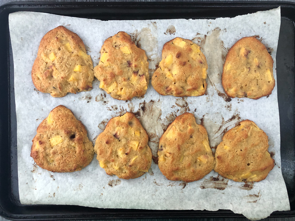 baking tray with baked peach gluten free scones