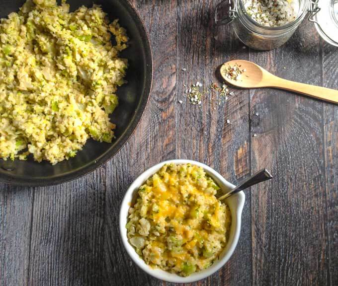 This cheesy broccoli cauliflower rice is a delicious side dish that you can make in minutes. It's low carb and grain free too! #SundaySupper