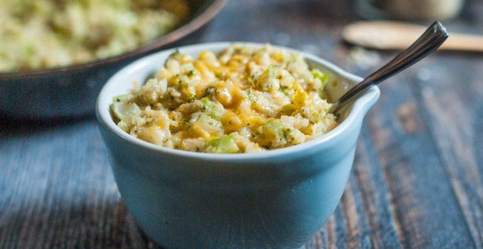 Cheesy Broccoli Cauliflower Rice #SundaySupper
