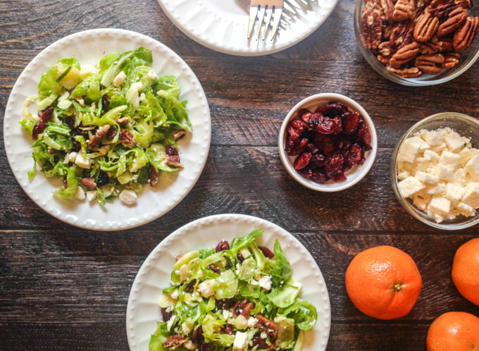 This cranberry brussels salad is dressed with a bright tangerine dressing to make a delicious side dish for fall.
