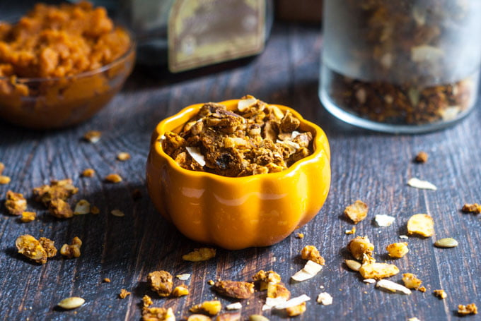 This cinnamon pumpkin granola is both gluten free and Paleo. A delicious, healthy snack, topping or breakfast cereal.