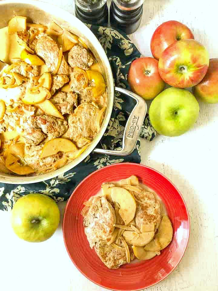 pan and red plate with keto pork tenderloin and a few fresh apples