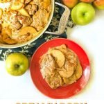 red plate and pan with creamy low carb pork tenderloin with apples and text