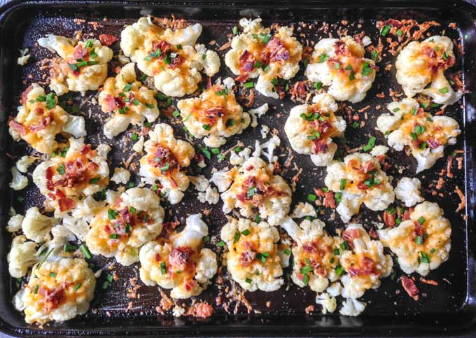 These loaded smashed cauliflower bites are a nice alternative low carb to smashed potatoes. Add all your favorite toppings for a fun snack or side dish. (3.2g net carbs per serving)