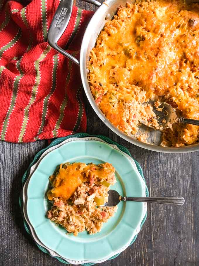 This Buffalo chicken quinoa skillet dish is spicy, creamy and delicious. Try this warm and comforting casserole for an easy week night dinner.