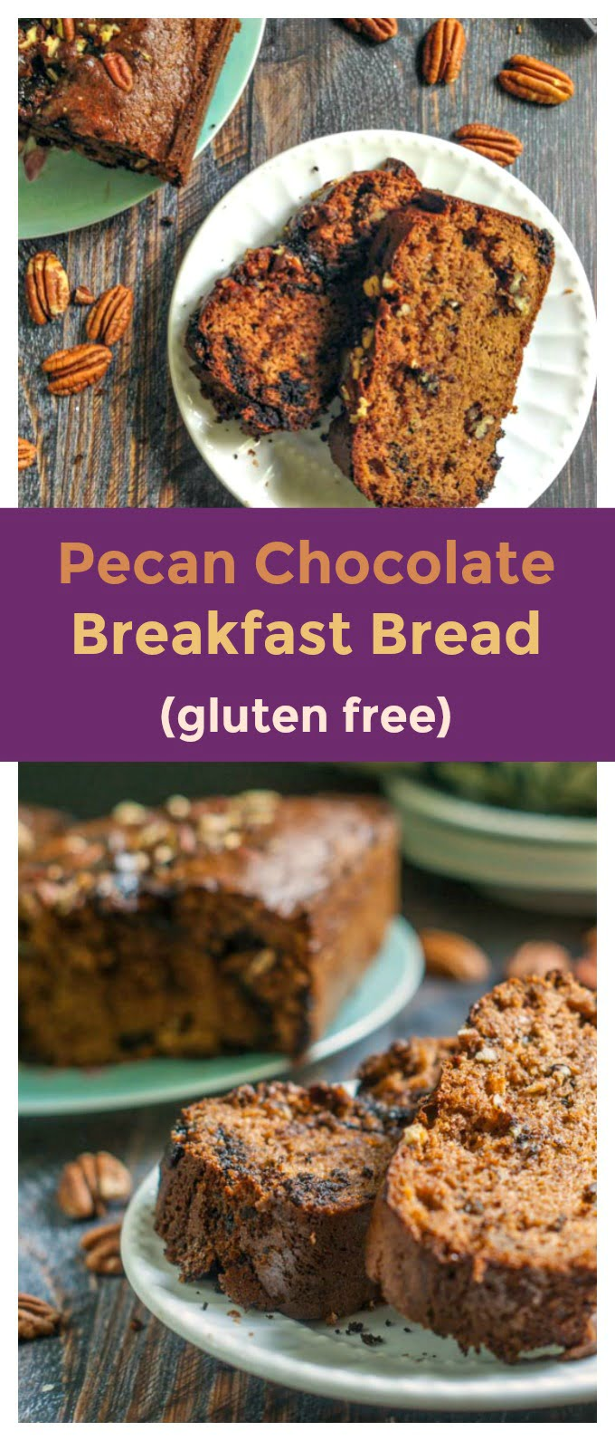 This pecan chocolate breakfast bread is a delicious gluten free treat that you can have every morning. Easy to make and freezable too!