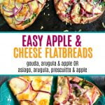 cookie sheet with apple and cheese flatbreads and text overlay