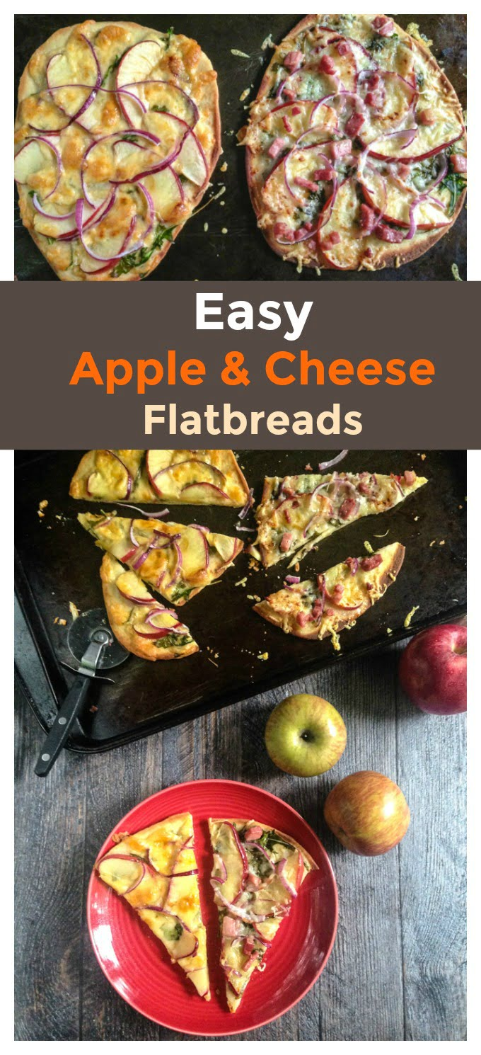 These easy apple & cheese flatbreads make for a delicious dinner or appetizer. Using seasonal apples and tasty cheeses you can make these flatbreads in minutes.