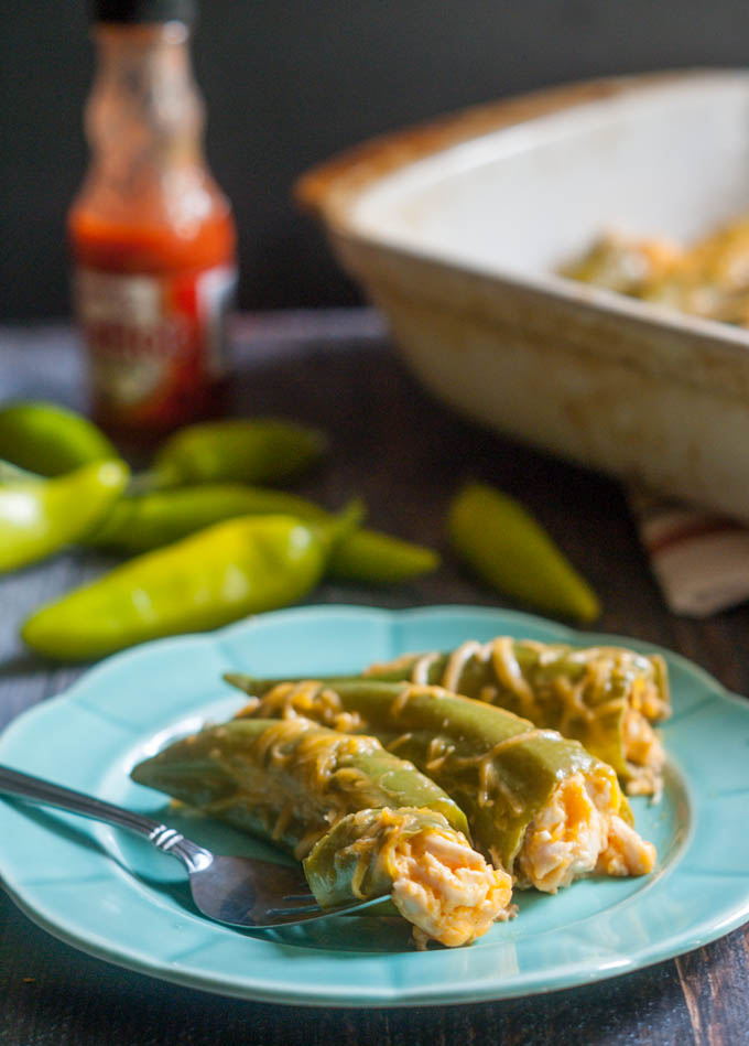 These buffalo chicken stuffed chiles are a delicious low carb appetizer or dinner.