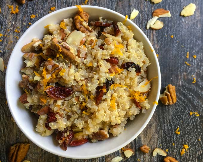 This cranberry orange breakfast quinoa is a tasty, gluten free idea for breakfast. Only a few minutes for an easy, healthy, tasty breakfast.