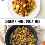 white plate and pan with German fried potatoes with bacon and text overlay
