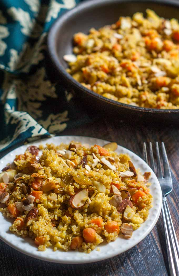 This vegetable quinoa pilaf is an easy and delicious side dish. This vegetarian dish only takes 15 minutes to make.