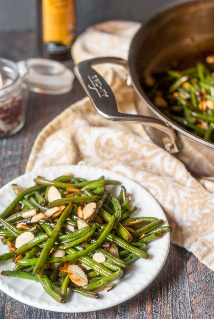 This easy Asian green beans almondine dish is a tasty, low carb side dish that you can whip up in less than 15 minutes and it's only 2.9g net carbs!