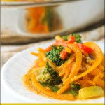 white dish with Thai butternut squash noodles curry and text