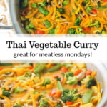 pan with Thai butternut squash noodles curry and text
